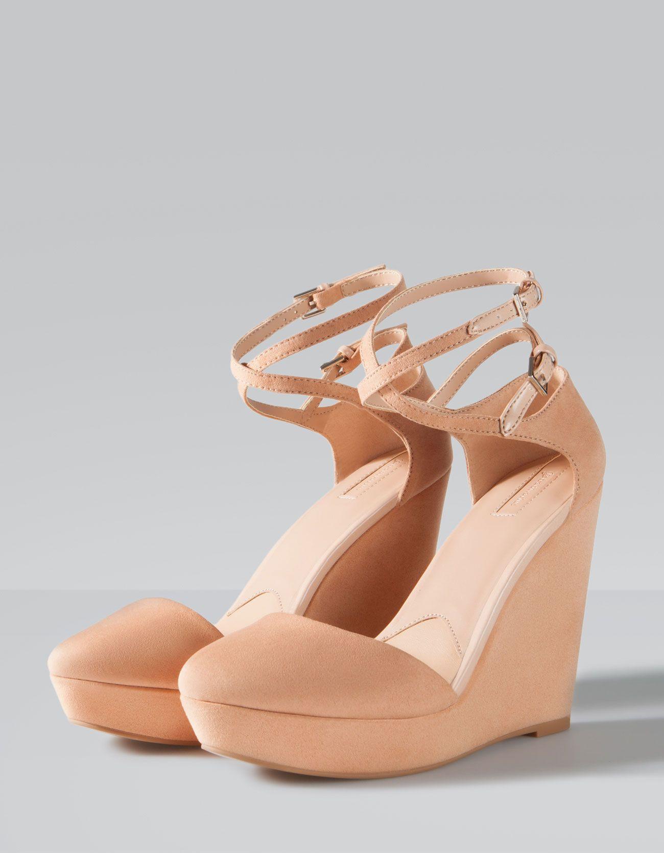 Stradivarius Buty Z Paskami Na Koturnie I Platformie Shoes Lace Up Wedges