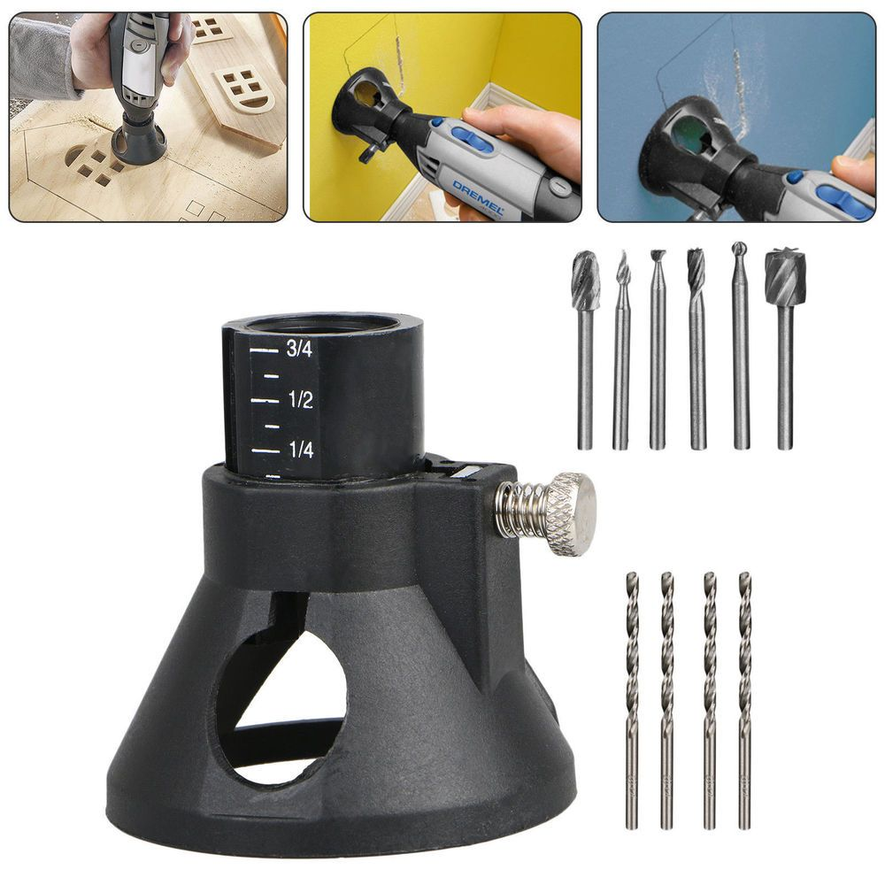 Rotary Multi Tool Cutting Guide Attachment Router Drill Bit 6pcs HSS Bits