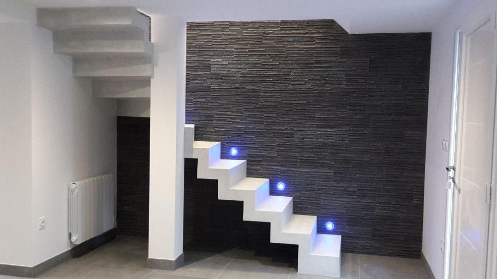 Escalier crémaillère en béton design, sur mesure, finition béton ...