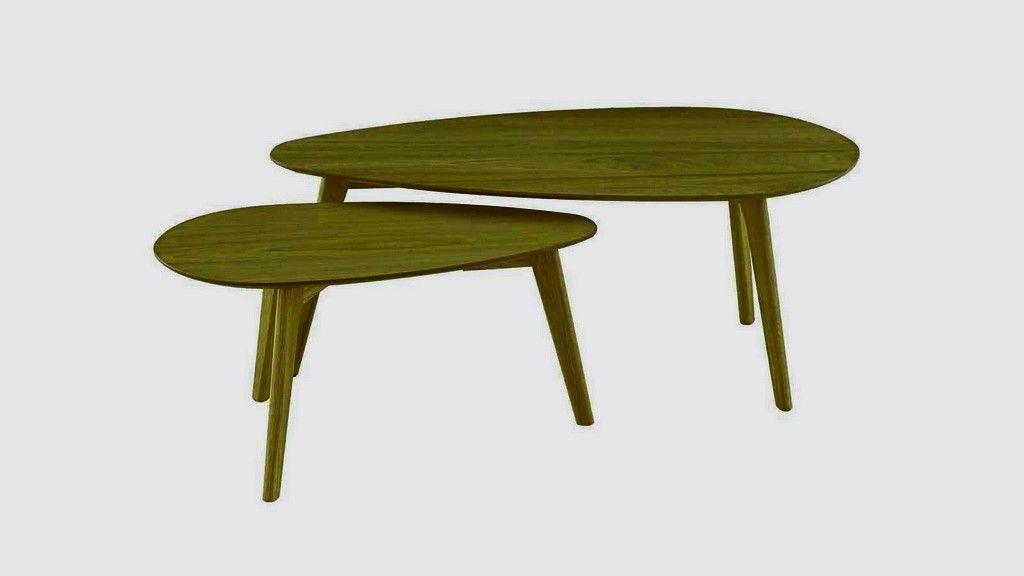 Set De 2 Tables Basses Gigognes Scandinaves En Chene Pietement Conique Collection Harold