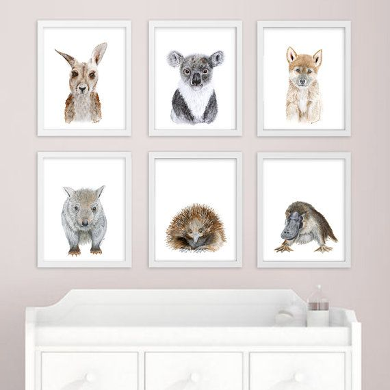 I Love This Person S Watercolour Animals She Has A Few Diffe Ones Baby Animal Art Australian Nursery Prints Print Set