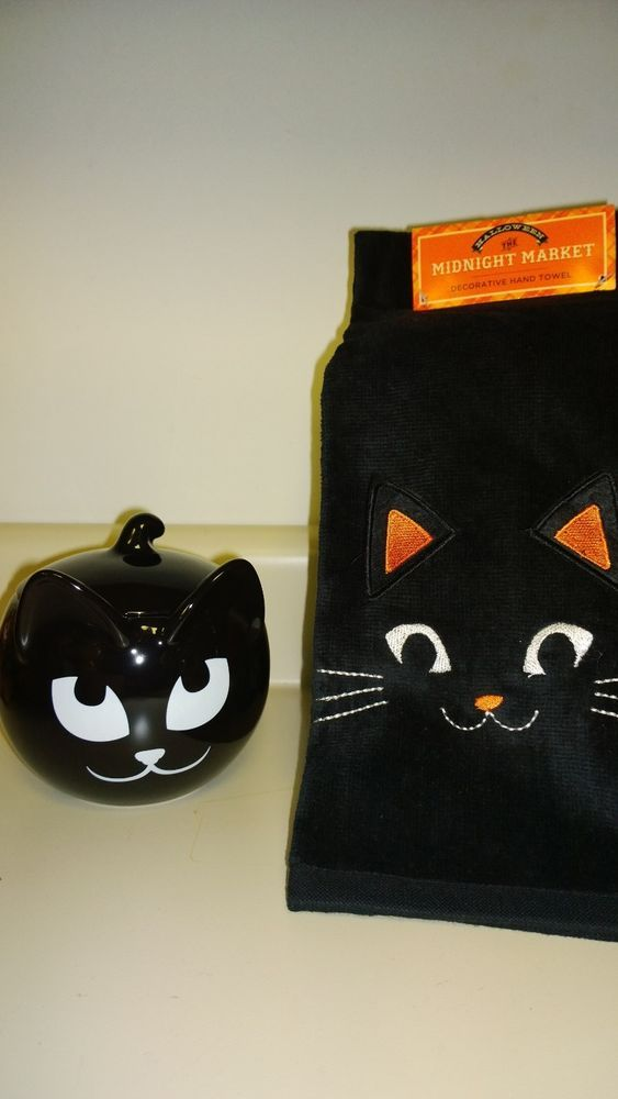SLY BLACK CAT Q Tip Candle Holder - BATHROOM HALLOWEEN DECOR + TOWEL