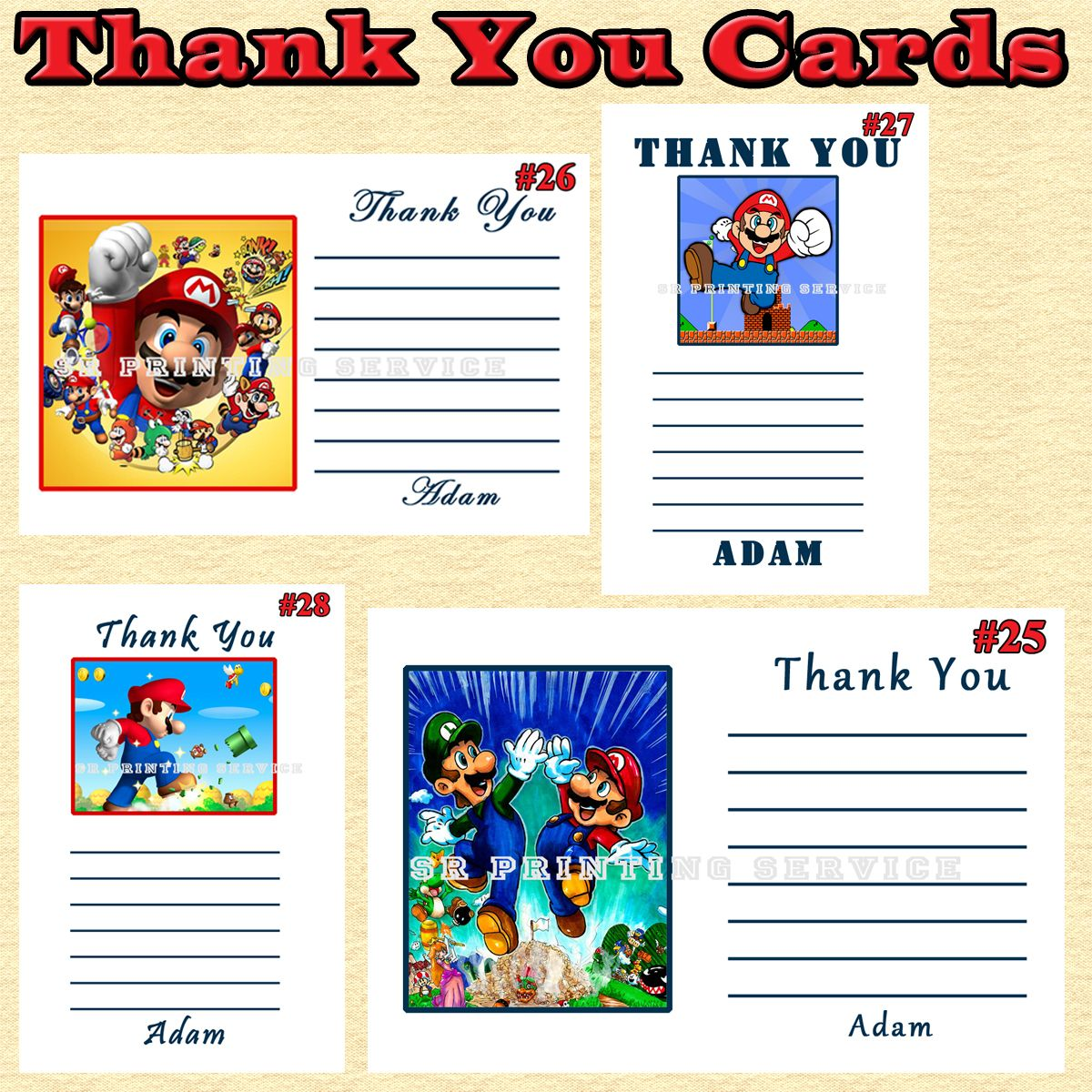 Super Mario Brothers Thank You Cards 10 ea Personalized Custom Made ...