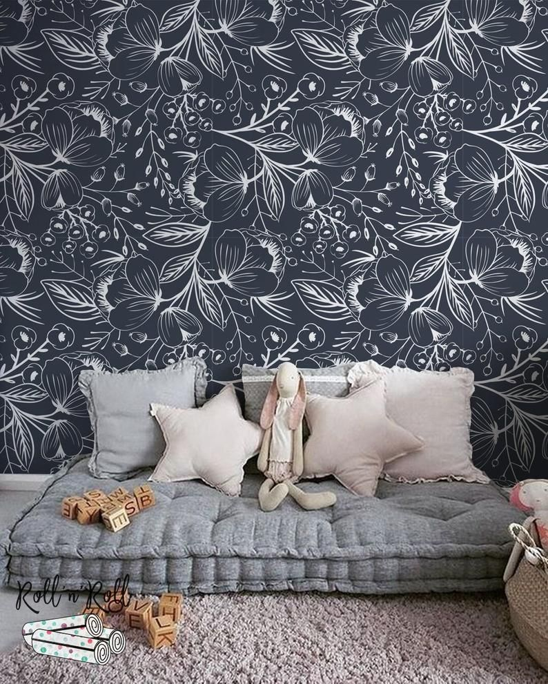 Sketch drawing wallpaper, Navy floral, Removable wallpaper
