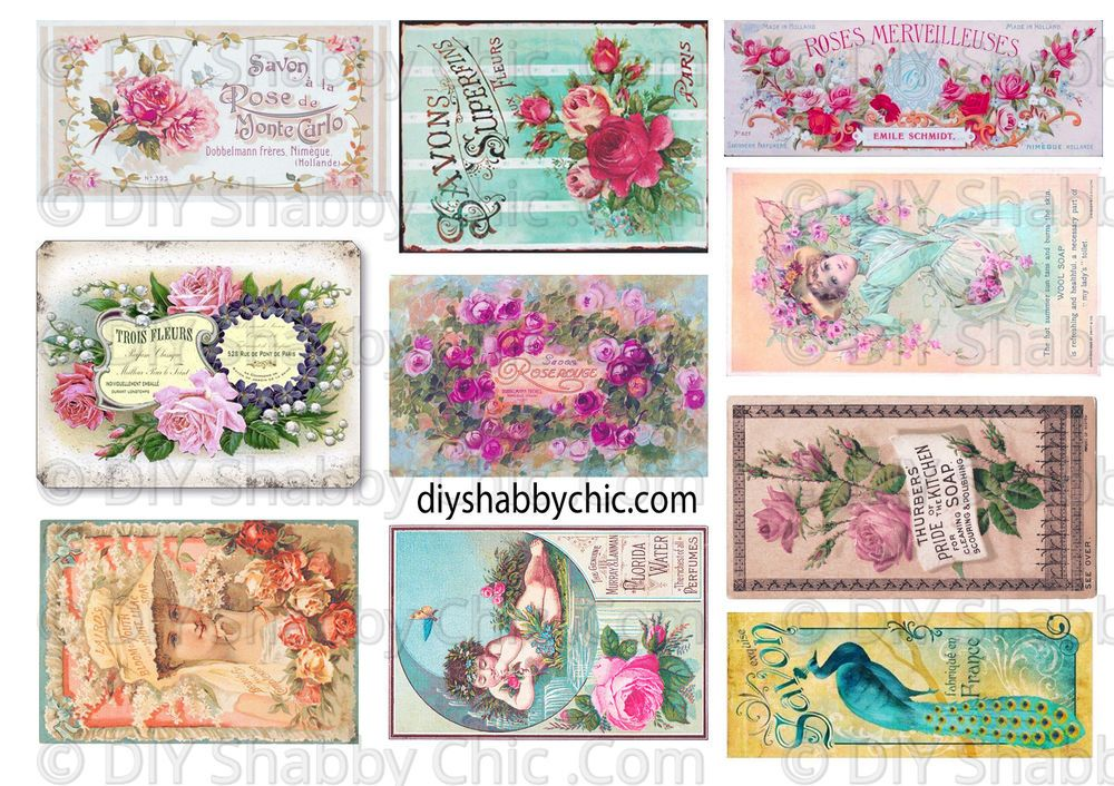Furniture Decal Image Transfer Vintage Shabby Chic Floral Labels Signs Upcycle Ebay Shabby Chic Diy Flower Bouquet Diy French Images