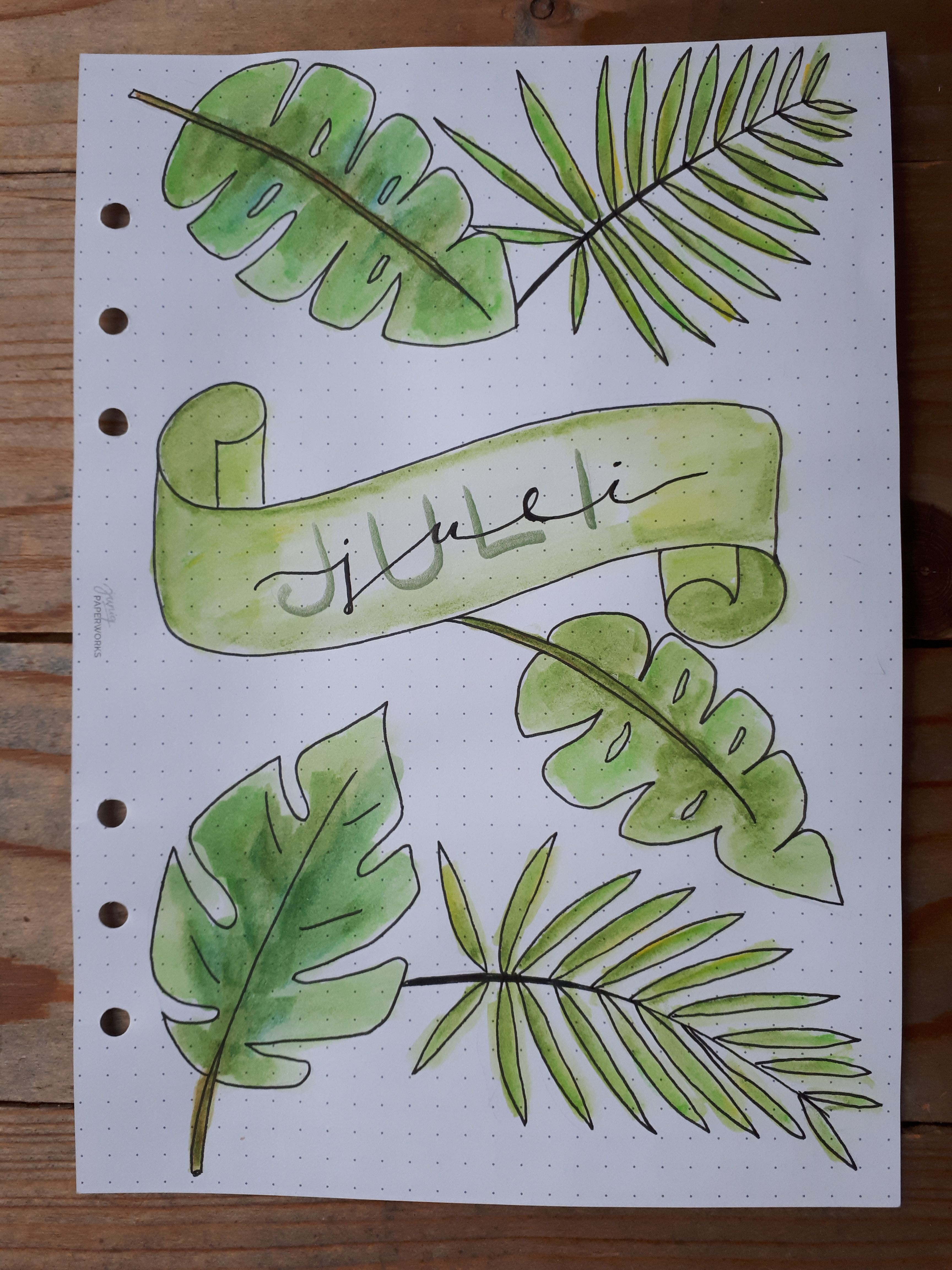 July Bullet Journal Cover Tropical Leaves Bullet Journal Font Bullet Journal Headers Journal Covers The theme for the month is tropical leaves. pinterest