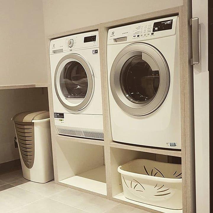 'idée d'aménagement dans une buanderie pour lave linge et sèche linge