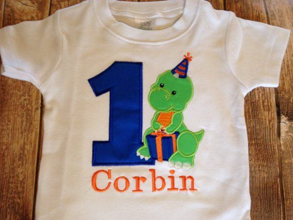 Boys First Birthday Dinosaur Custom Embroidered Bodysuit Or Shirt