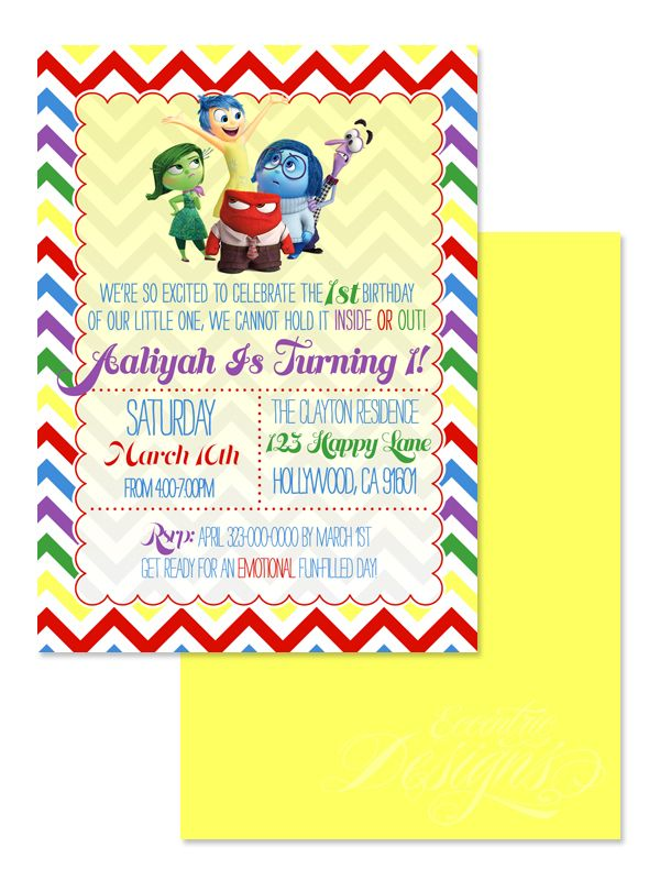 Inside Out - Digital Birthday Party Invitation / Child Party Ideas ...