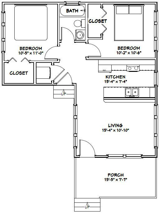 16x30 tiny house 16x30h4f 705 sq ft excellent for L shaped open floor plan