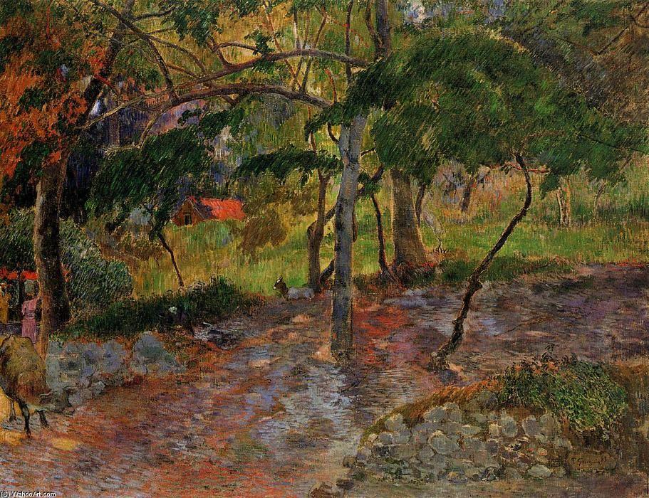"""""""Tropische Landschaft, Martinique"""", öl auf leinwand von Paul Gauguin (1848-1903, France)"""
