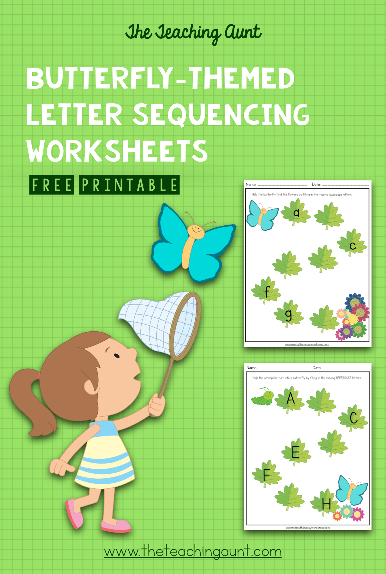 Butterfly Themed Letter Sequencing Worksheets Free