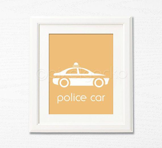 Police Car - 8x10 - Little Cop\'s Room Decor, Children\'s Wall Art ...