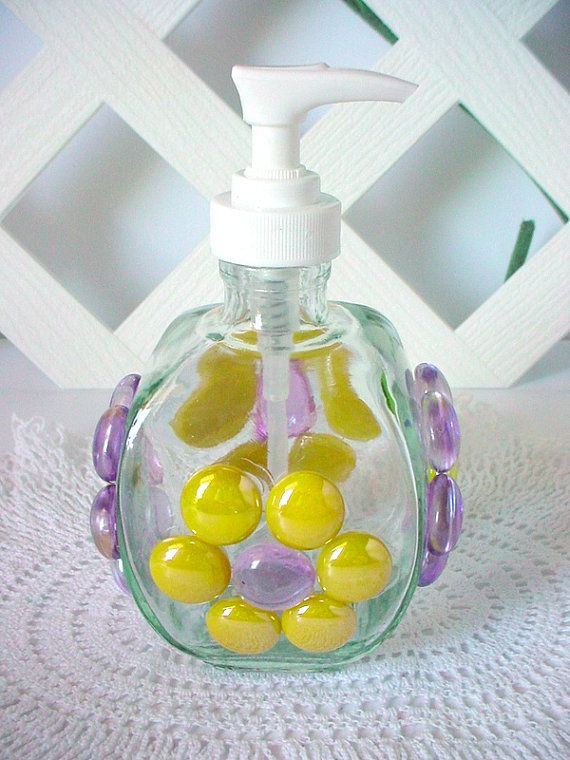 Colorful Soap Pump Yellow Beaded Bottle Lotion by BuzyBeeBlooms