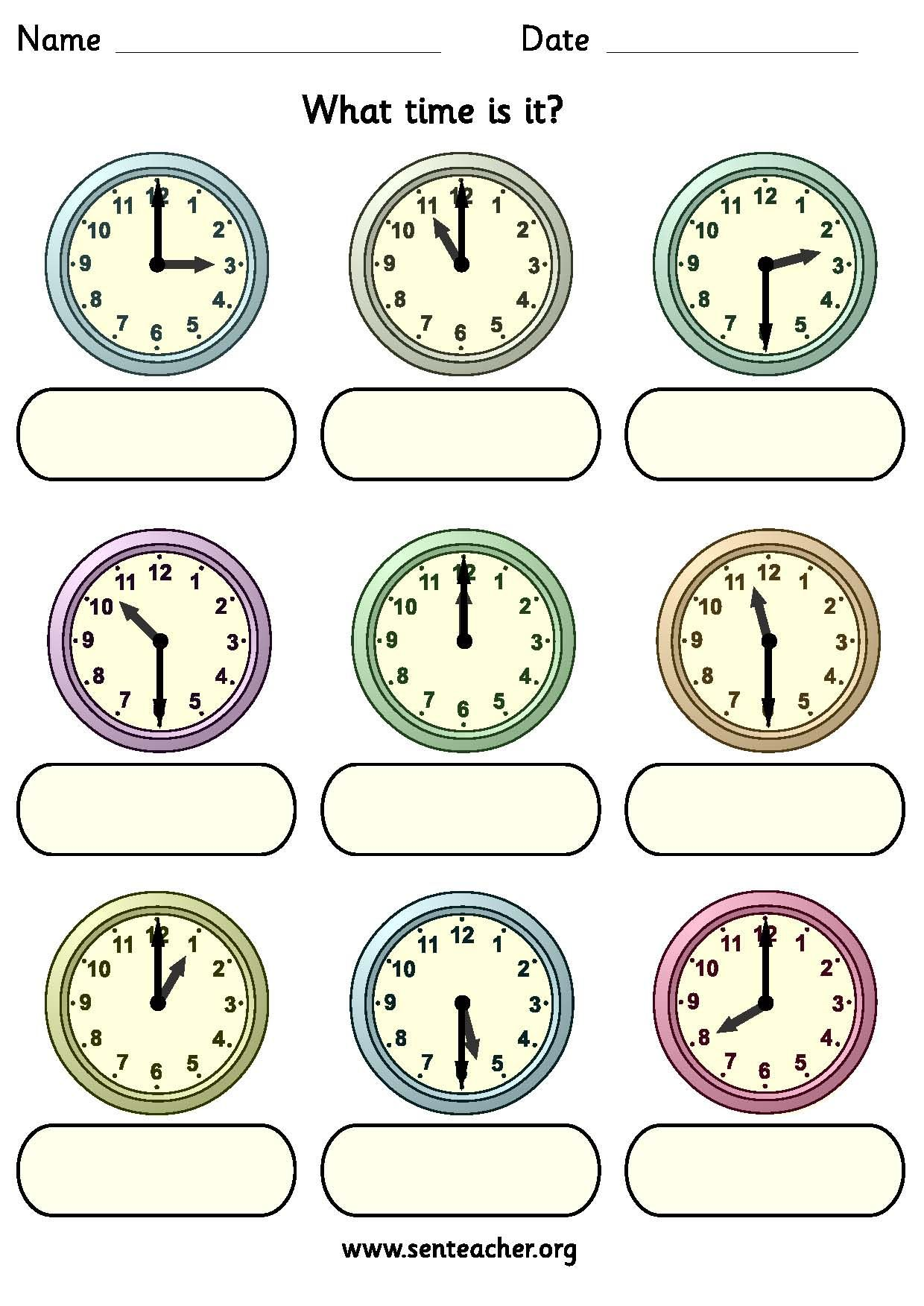 Worksheet containing 9 analogue clocks showing oclock or half – Clock Worksheets