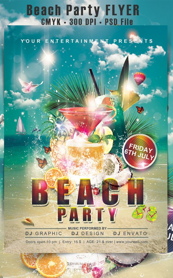 Beach Party flyer on Behance Flyer designs By Sam Saif - beach party flyer template
