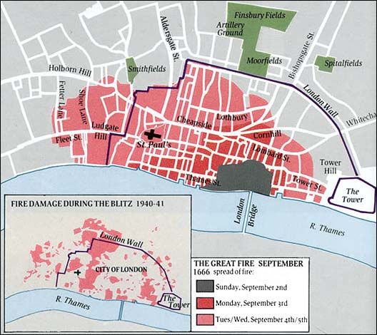 Great Fire Of London Map.Map Of The Spread Of The Fire Ths Day In History Sep 2 1666