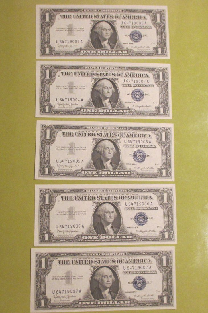 Silver Certificate Consecutive Numbers Five 5 One Dollar