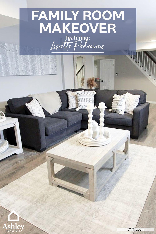 Lissette Pedreiras Creates Farmhouse Family Room Ashley Homestore Family Room Makeover Family Room Living Room Furniture Sale