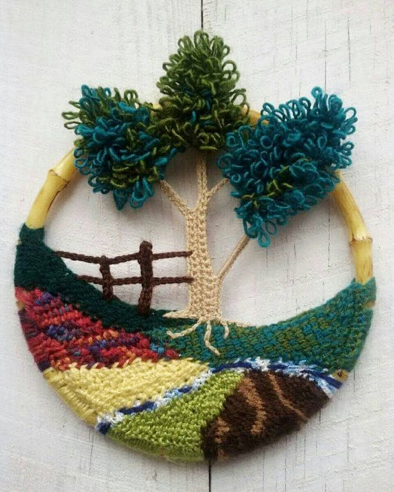 Crochet wall hanging crochet landscape wall art crochet picture home decoration mother day gift - Decoration au crochet ...