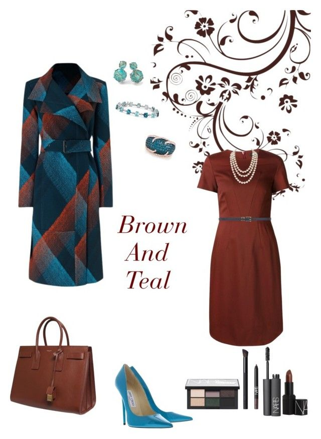 """Brown And Teal"" by campanellinoo on Polyvore featuring Roland Mouret, Ippolita, Jimmy Choo, Jil Sander Navy, Effy Jewelry, Dorothy Perkins, Yves Saint Laurent, Blue Nile, Chanel and NARS Cosmetics"