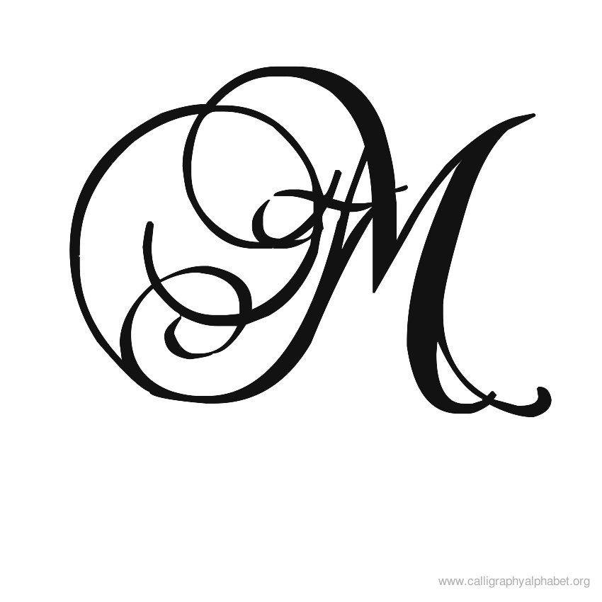 Calligraphy Alphabet Romantic M | Take A Letter | Calligraphy