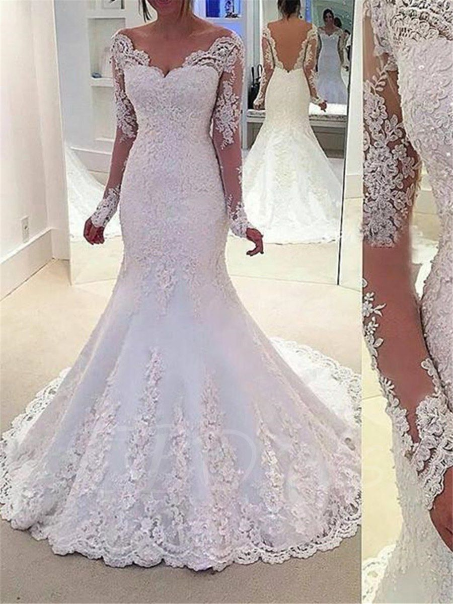 Sequins Appliques Mermaid Wedding Dress with Long Sleeve ...