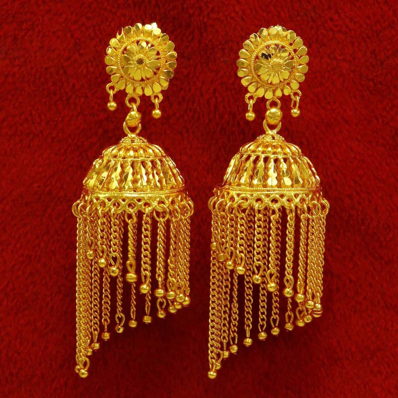 Details about Ethnic Indian Bollywood Gold Plated Earrings ...