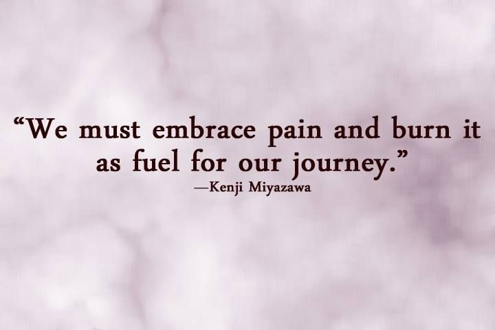 we must embrace pain and burn it as fuel for our journey...