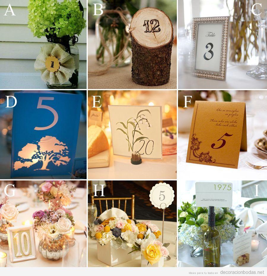 ideas y tarjetas originales y bonitas para poner el nmero de la mesa boda