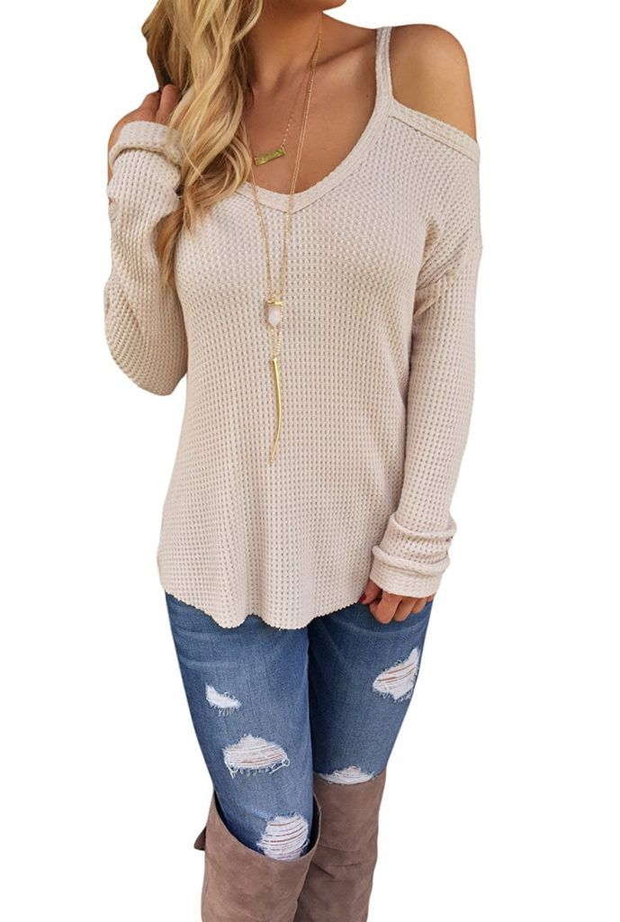 d6af6a96665 Dokotoo Womens Cold Open Shoulder Loose Knitted Sweater Top Blouse ...