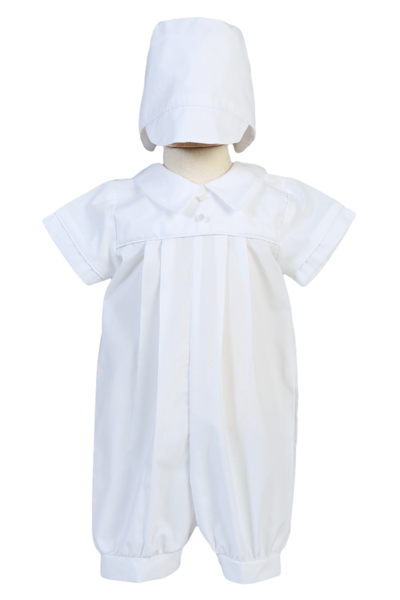 031b03c9c9fc Pleated Cotton Boys Short Sleeve Baptism Romper Set w. Hat 0-24m ...
