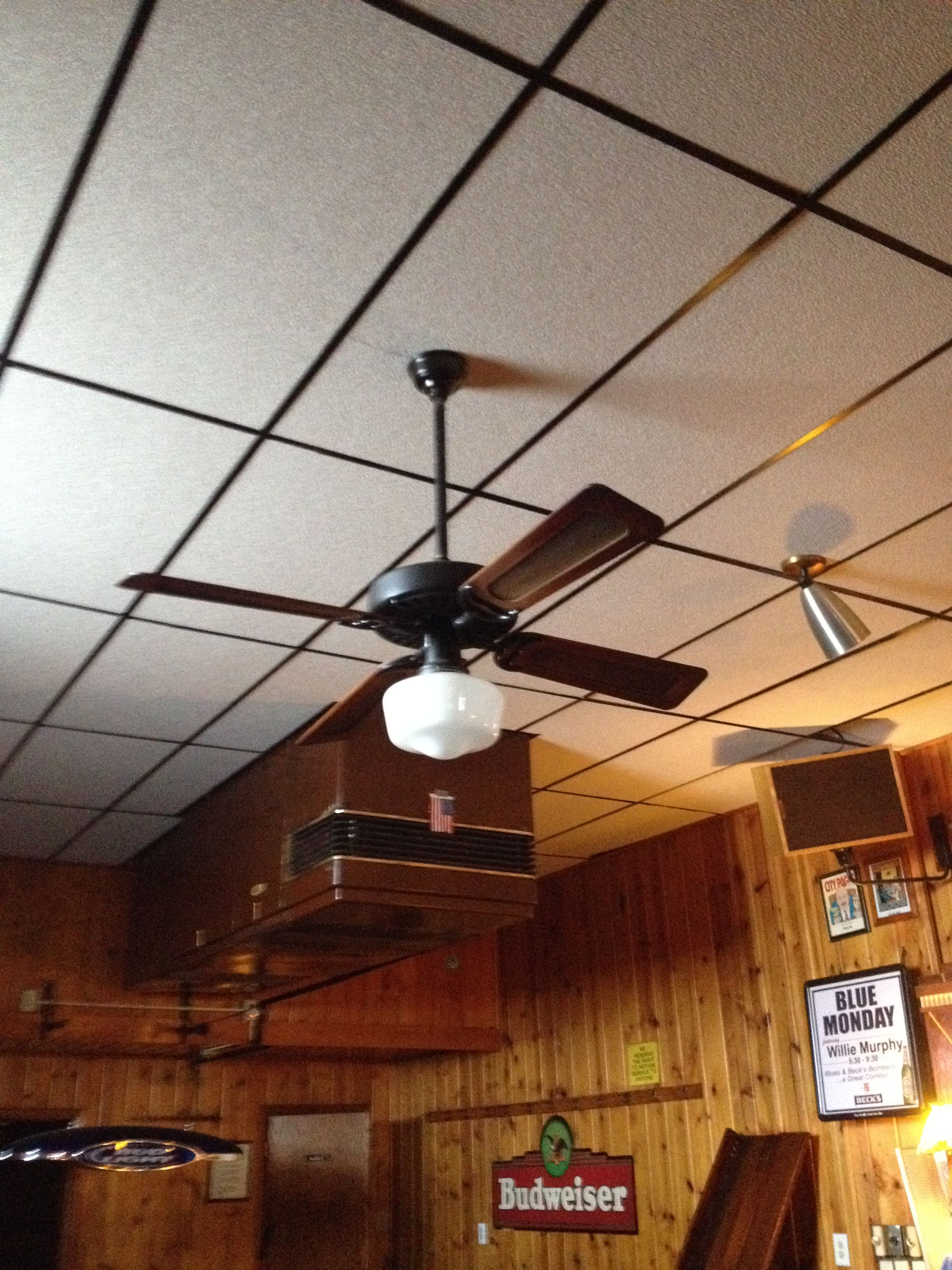 We Removed The Old Smoke Eater And The Dropped Ceilings 2015 Dropped Ceiling Ceiling Fan Ceiling