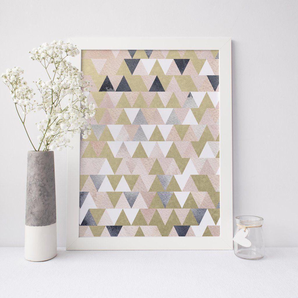 Blush indigo blue gold triangle modern art print art prints