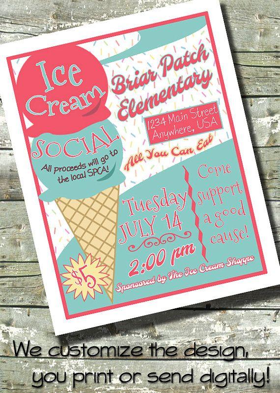 Ice Cream Social 5x7 Invite 85x11 Flyer 11x14 By Ditditdigital