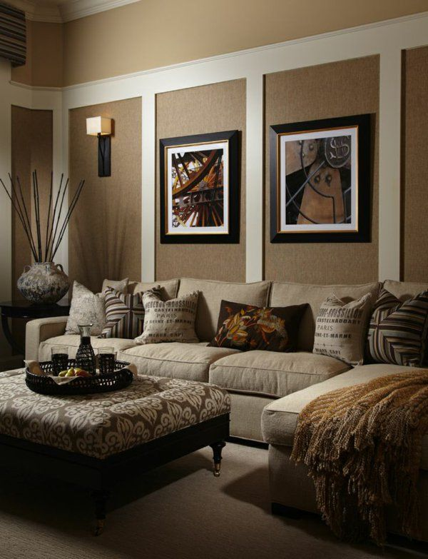 beige family room Dunkle Wandfarbe mit hellem Sofa u2013 die - beige wandfarbe