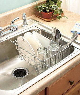 Chrome Expandable Sink Dish Drying Drainer Rack W Utensil Basket