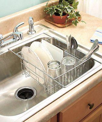 Chrome Expandable Sink Dish Drying Drainer Rack W Utensil Basket