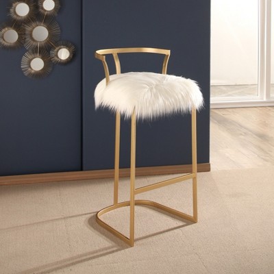 Surprising Zafir Faux Fur Bar Stool White Abbyson Products Pabps2019 Chair Design Images Pabps2019Com