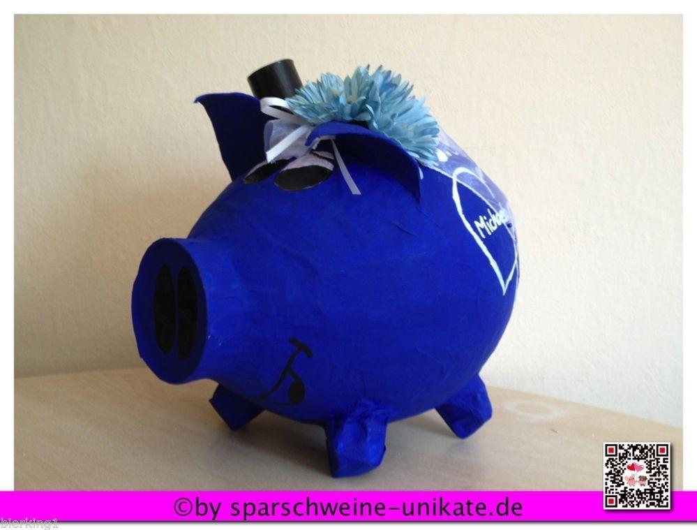 Grüne Hochzeit in Blau - grosses Sparschwein - Kartenbox - Geldgeschenk  Schwein