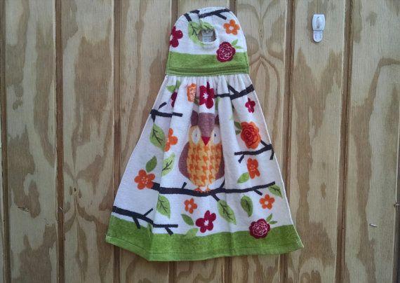 Hanging Kitchen Towel Hand Towel Velcro Tea Towel Owl Towel