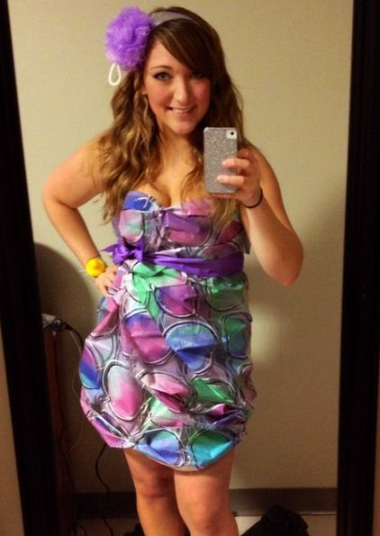 Dress Made From A Shower Curtain And Loofah Headband Abcparty Costume
