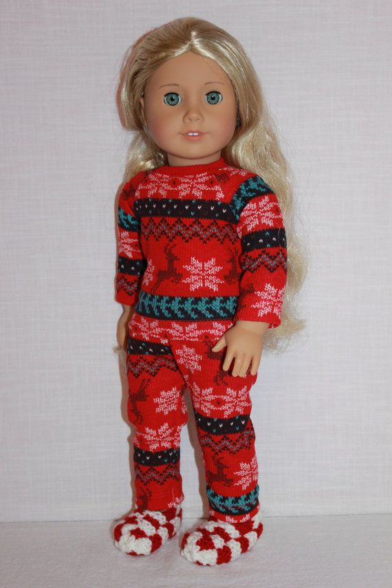18 inch doll clothes red fair isle print doll by UpbeatPetites | 2 ...