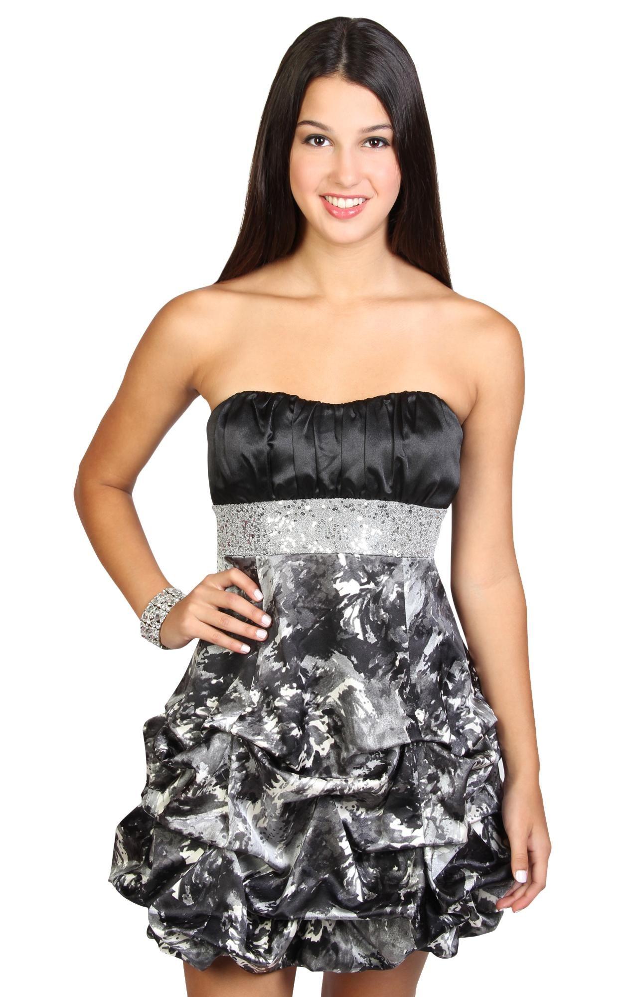 abstract printed beaded pick up junior #homecoming dress $62.50 ...