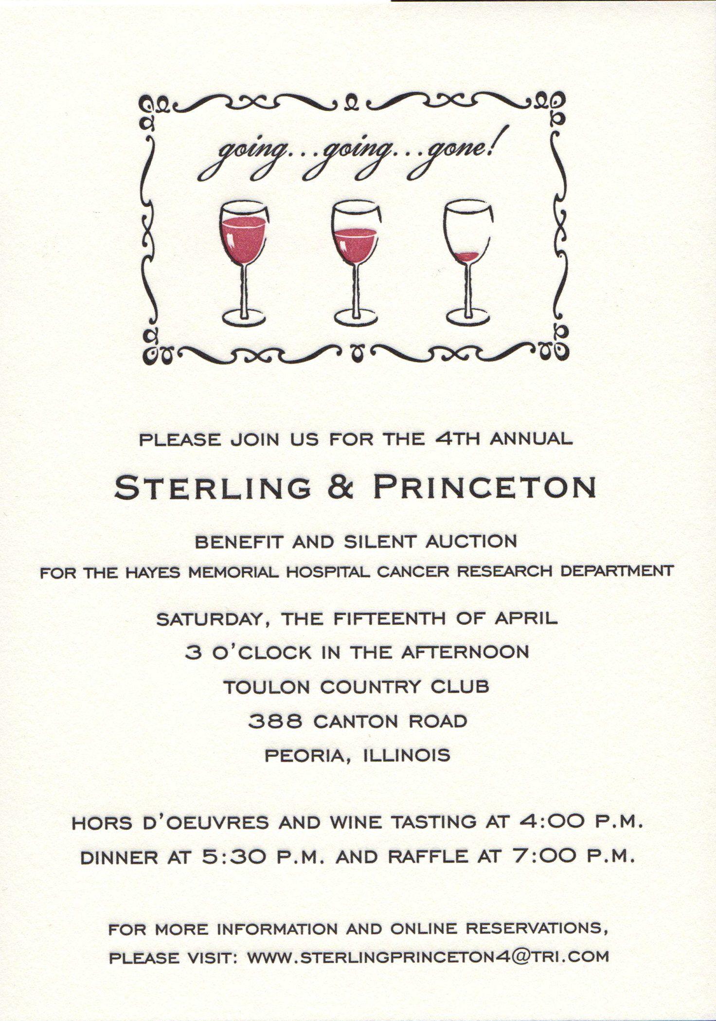 going going gone wine themed letterpress invitation from