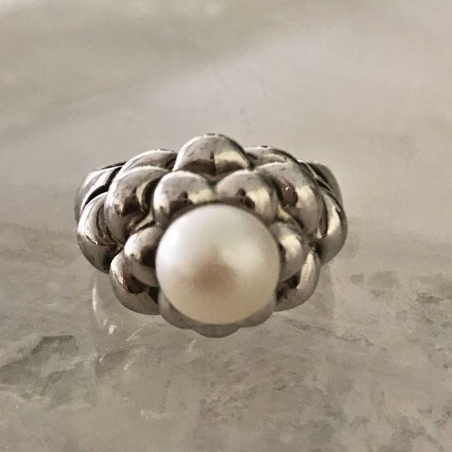 Sterling 9mm Cultured Freshwater Pearl Flower Ring Size 9  | eBay