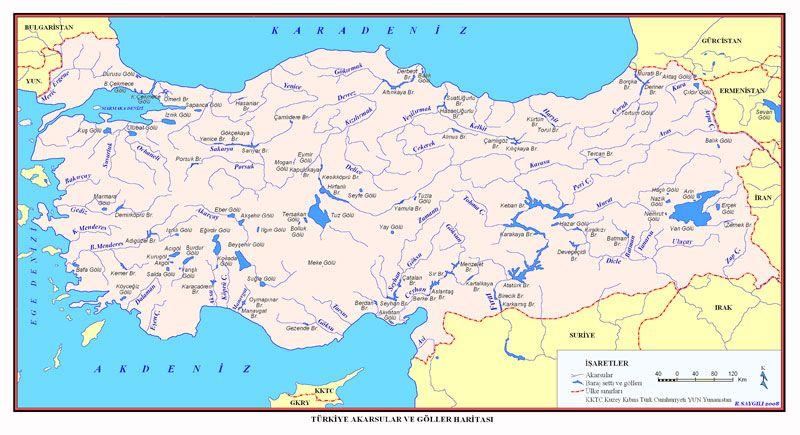 Turkiye Akarsu Ve Goller Haritasi Goller Haritalar Dunya Tarihi