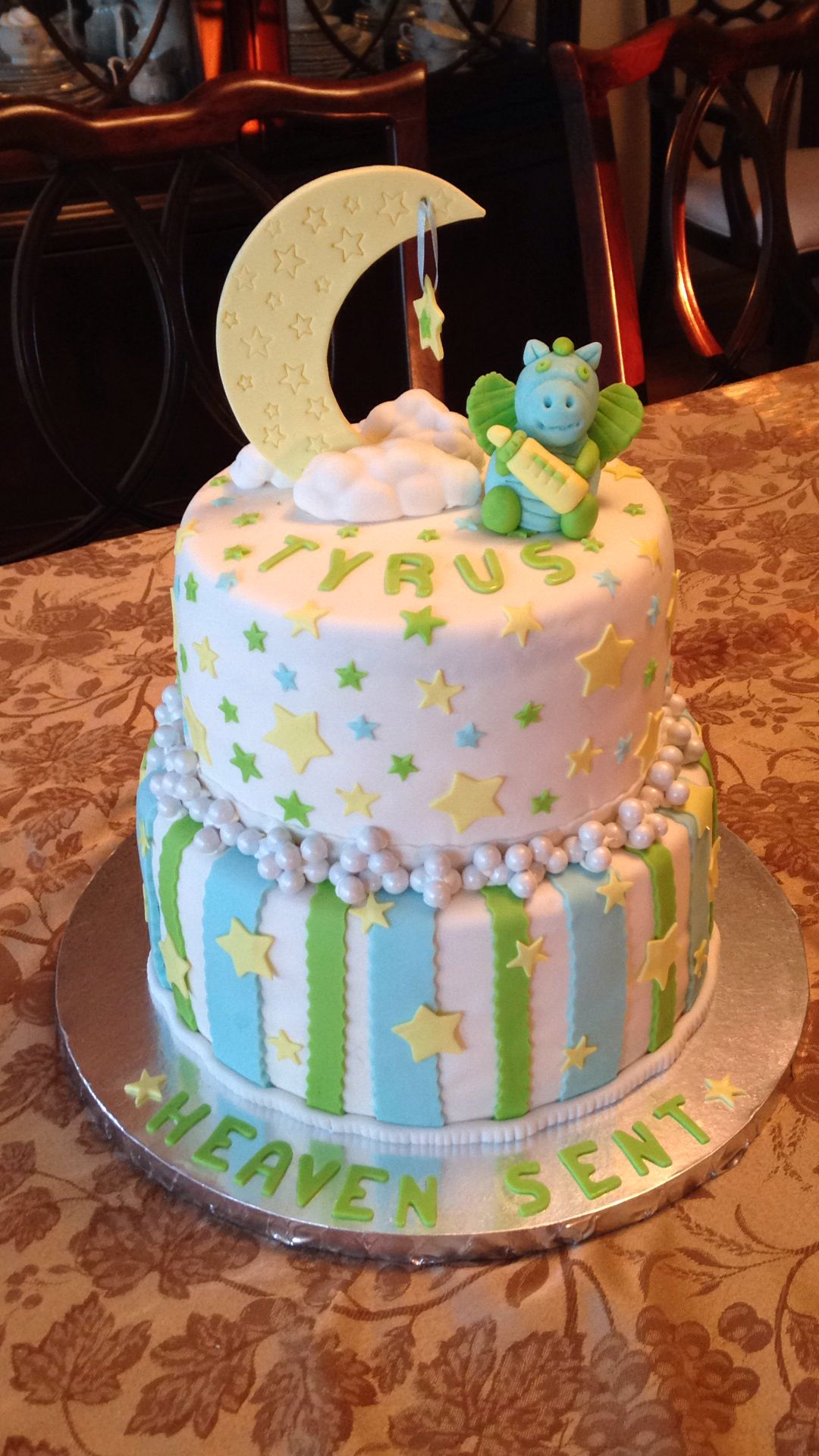Baby Boy Baby Shower Cake With Blue And Green Stripes