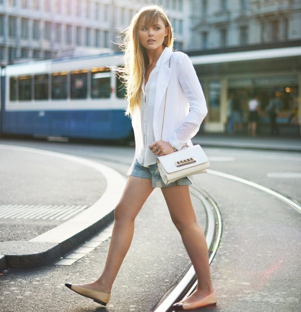 chic-blazer-with-denim-shorts-and-cap-toe-ballet-flats