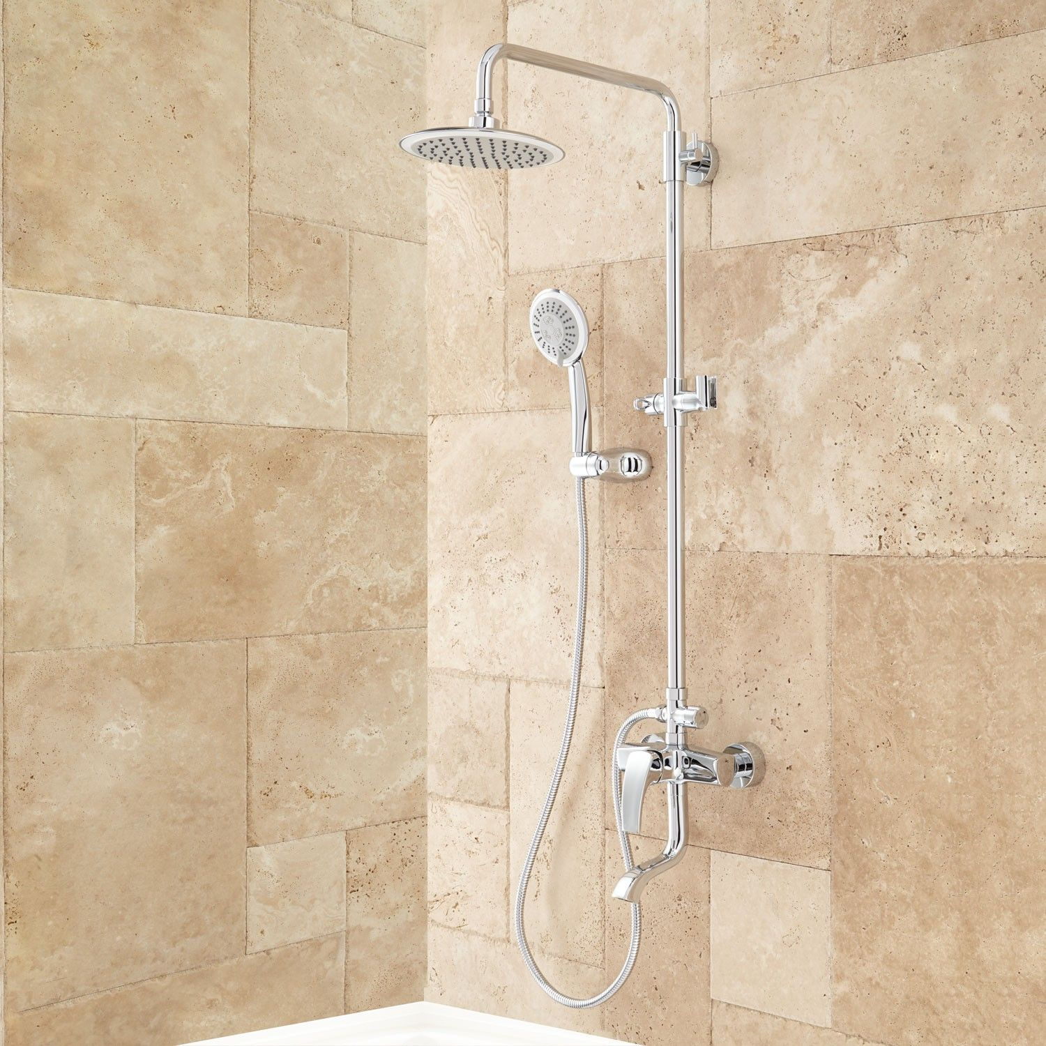 Bathroom shower pipe - Alliston Exposed Pipe Shower With Hand Shower Pipes Brushed Nickel And Bathtub Shower Combo